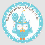 Blue Owl Birthday Thank You Round Stickers