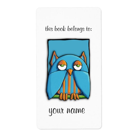 Blue Owl blue Bookplate Label Shipping Label