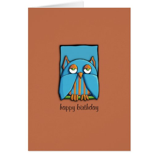 Blue Owl blue brown Birthday Card