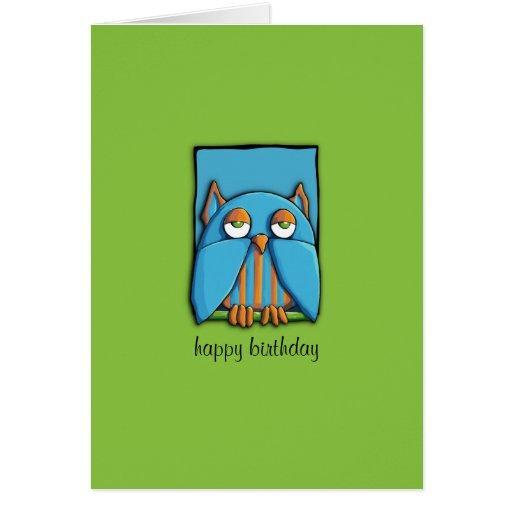 Blue Owl blue green Birthday Card