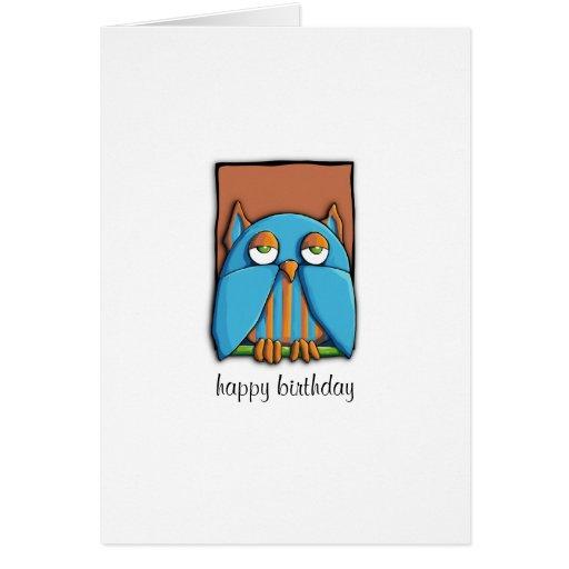 Blue Owl brown Birthday Card