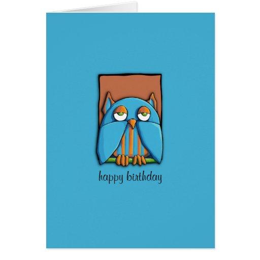 Blue Owl brown blue Birthday Card