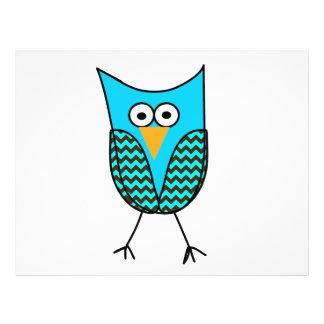 Blue owl cartoon 21.5 cm x 28 cm flyer