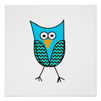 Blue owl cartoon poster