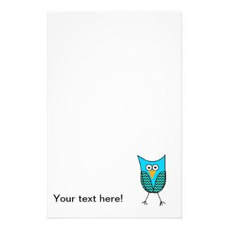 Blue owl cartoon customized stationery