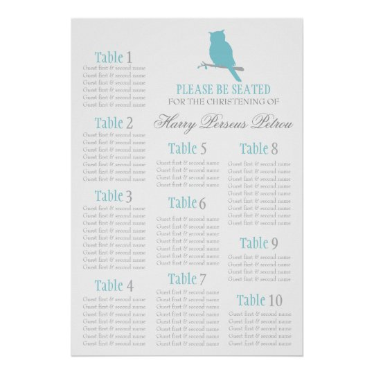 Blue owl Christening seating table plan 1-10 Poster