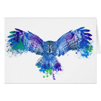 Blue owl color splash card