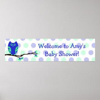 Blue Owl Custom Baby Shower Sign Poster