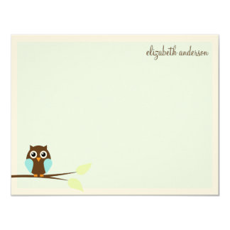 Blue Owl Custom Flat Thank You Cards Personalized Announcements