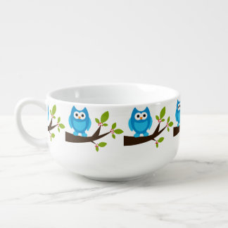 Blue Owl Cute Soup Mug