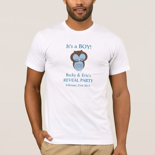 Blue Owl Gender Reveal Boy Customisable Shirt