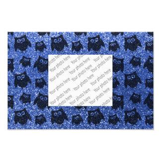 Blue owl glitter pattern photo print