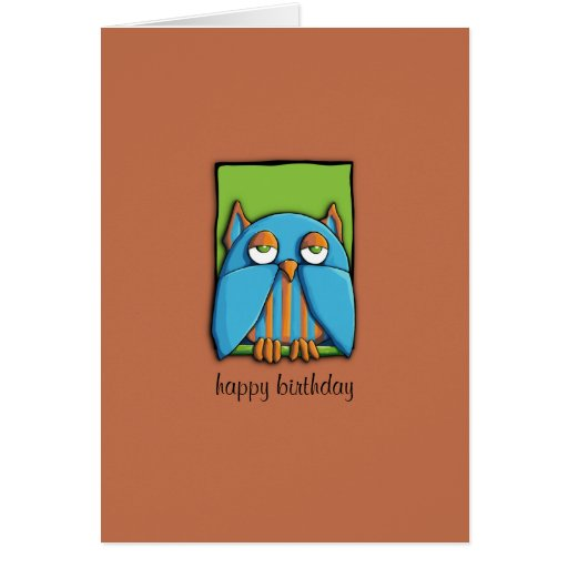 Blue Owl green brown Birthday Card