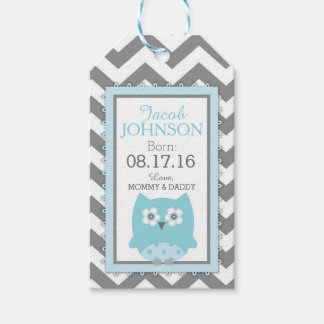 Blue Owl Grey White Chevron Baby Shower Gift Tags