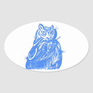 Blue Owl Hand Drawn Illustration Oval Sticker