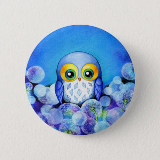 Blue Owl in Dandelion Field 6 Cm Round Badge