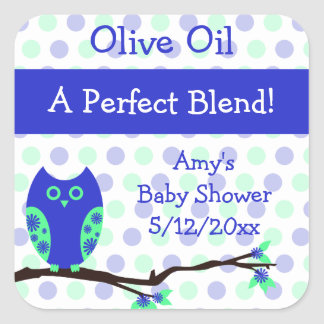 Blue Owl Olive Oil Personalized Favor Labels Square Sticker