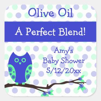 Blue Owl Olive Oil Personalized Favor Labels Square Sticker