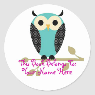 Blue Owl On Limb Name Tag Round Stickers