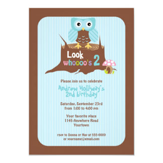 Blue Owl on Tree Stump Child's Birthday Invitation