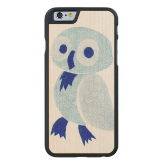 Blue Owl on white wood Carved Maple iPhone 6 Case