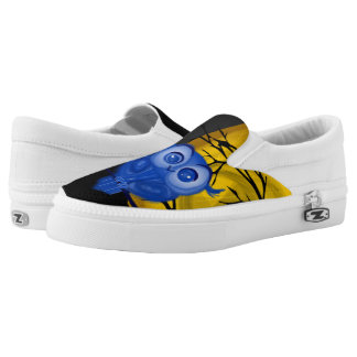 Blue owl on yellow moon background Slip-On shoes