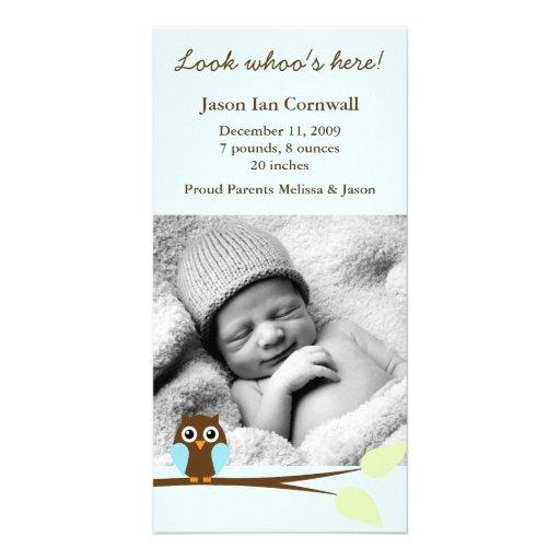 Blue Owl Photo Birth Announcements Photo Card