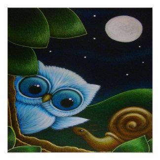 "BLUE OWL & SNAIL 20"" x 20"",Poster Paper Semi-Gloss"