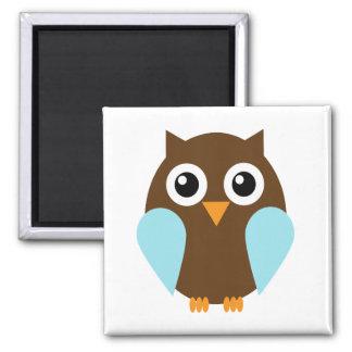 Blue Owl Square Magnet