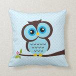Blue Owl Throw Pillows