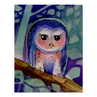 Blue Owl watercolor Poster