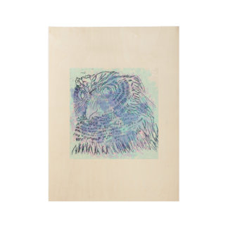 Blue Owl watercolour Wood Poster
