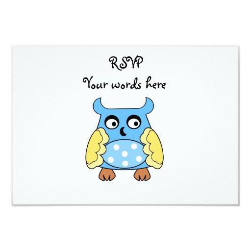 Blue owl with white polka dots 9 cm x 13 cm invitation card
