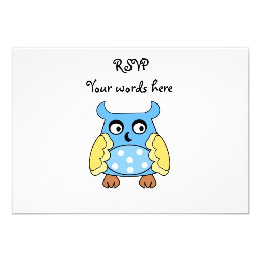 Blue owl with white polka dots personalised invites