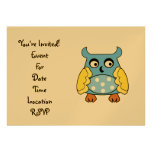 Blue owl with white polka dots invite