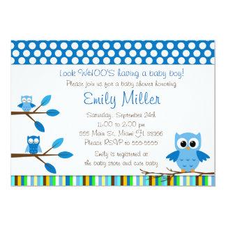 Blue Owls Baby Boy Shower Party Invitation