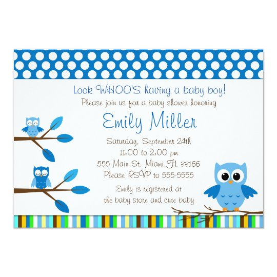 Blue Owls Baby Boy Shower Party Invitation