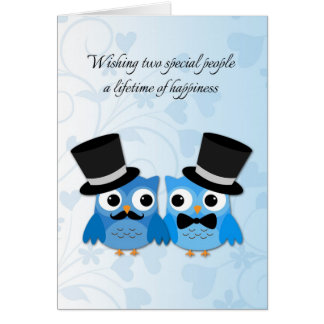 Blue Owls, Gay Men Wedding Congratulations Card