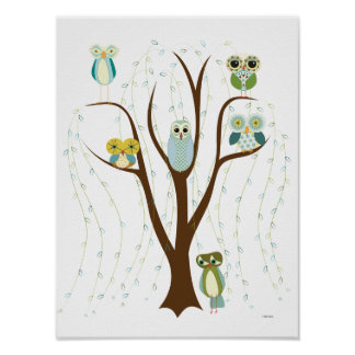 Blue Owls in a Weeping Willow Poster