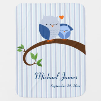 Blue Owls Personalized Baby Blanket