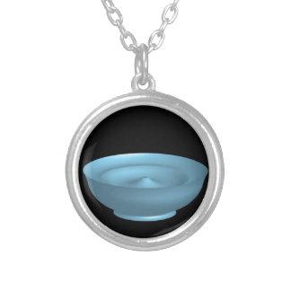 Blue paint bowl round pendant necklace