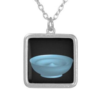 Blue paint bowl square pendant necklace