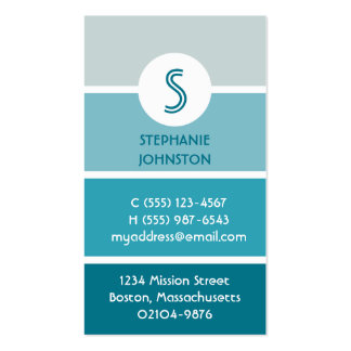 Blue paint chip modern monogram personal calling pack of standard business cards