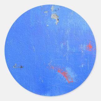 Blue paint grunge design round sticker