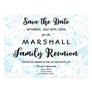 Blue Paint Splatter Family Reunion Save the Date Postcard