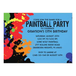 Blue Paintball Splatter Paintball Birthday Party 14 Cm X 19 Cm Invitation Card