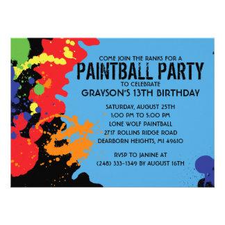 Blue Paintball Splatter Paintball Birthday Party Custom Announcement