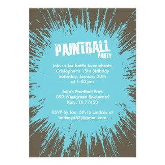 Blue Paintball Splatter Party Invitations