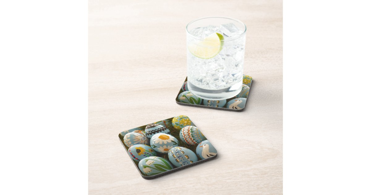 Blue Painted Easter Eggs Beverage Coasters Zazzle