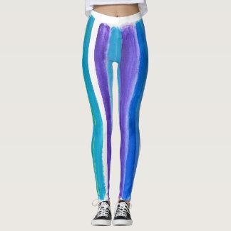 Blue painted horizontal stripes leggings